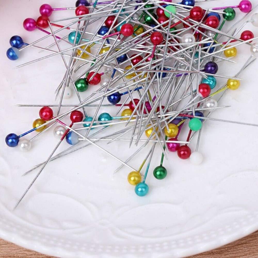 YH 100 Piezas//Caja Alfileres de confecci/ón Bodas Ramillete Alfileres de Costura Coloridos Populares Herramientas de Costura Alfileres Redondos con Cabeza de Perla