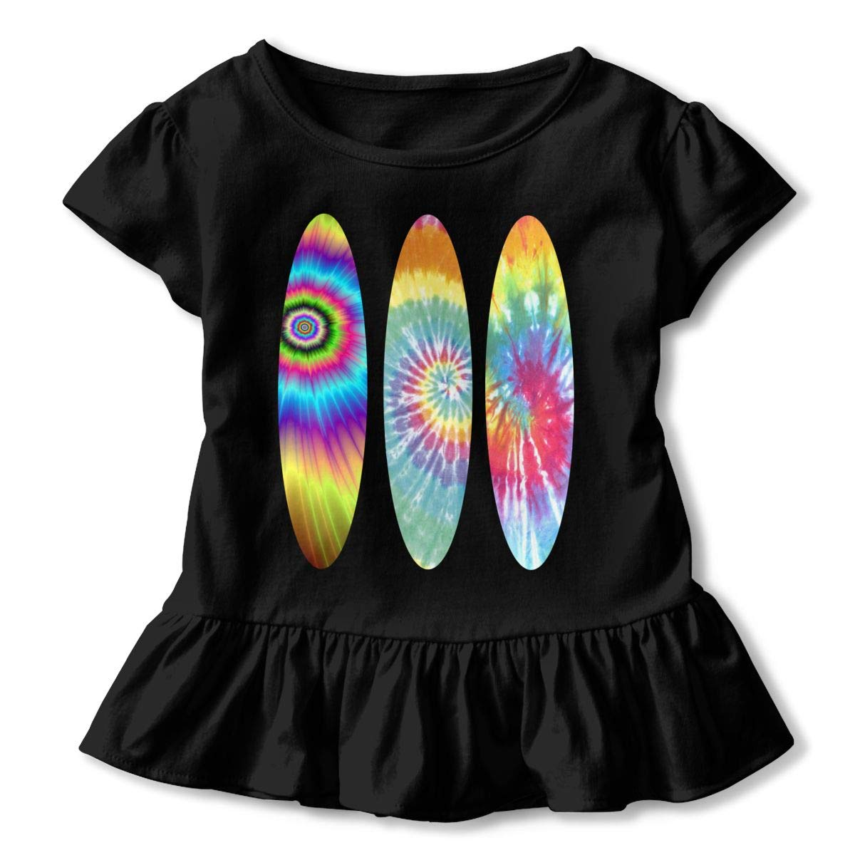 CZnuen Tie Dye Sailboat Baby Girls Basic Short Puff Sleeve Round Neck Ruffle T-Shirt