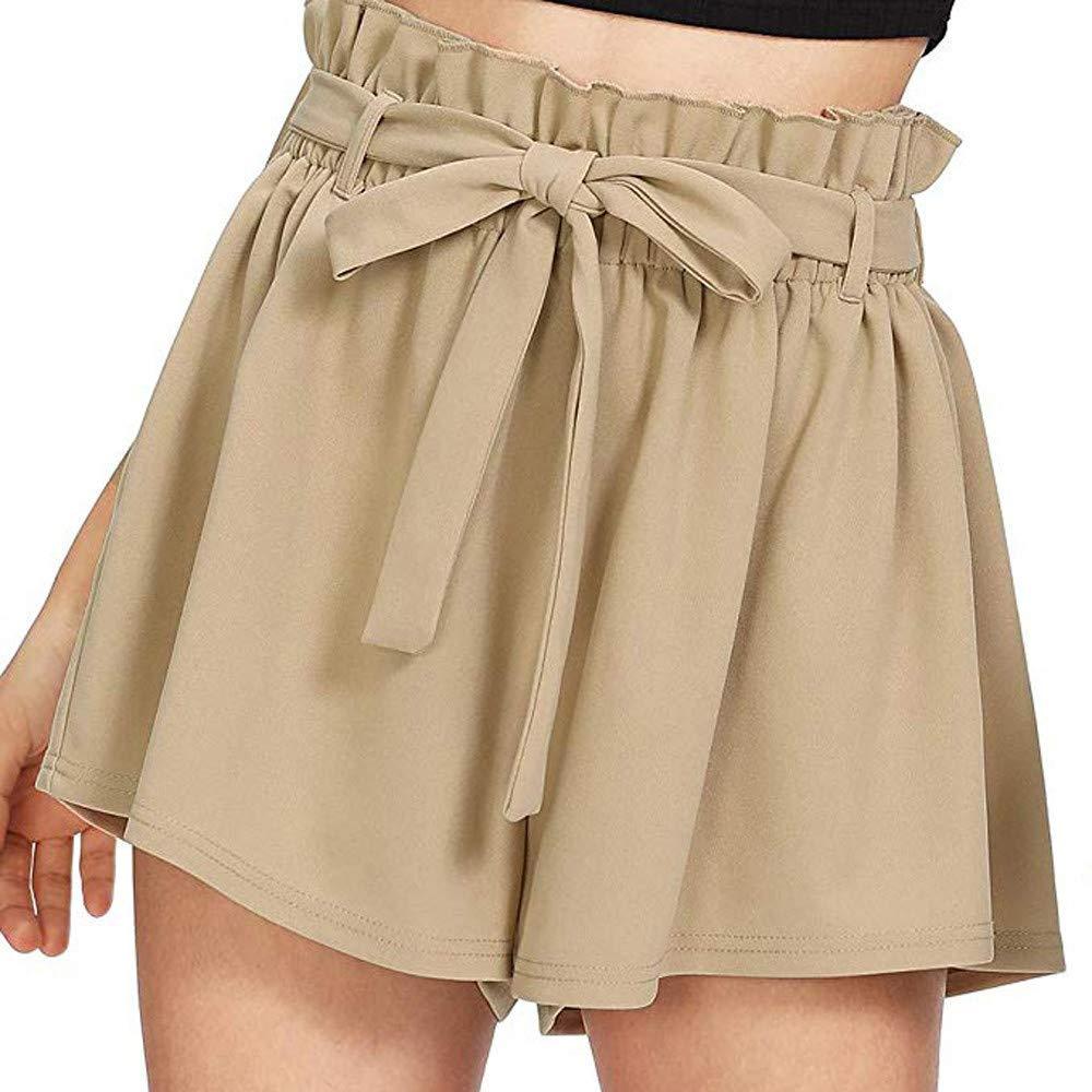 Women Hot Pants JOYFEEL ❤️ Ladies Elastic Waist Casual Wide Leg Pants Loose Pleated Solid Beach Shorts with Belt Beige
