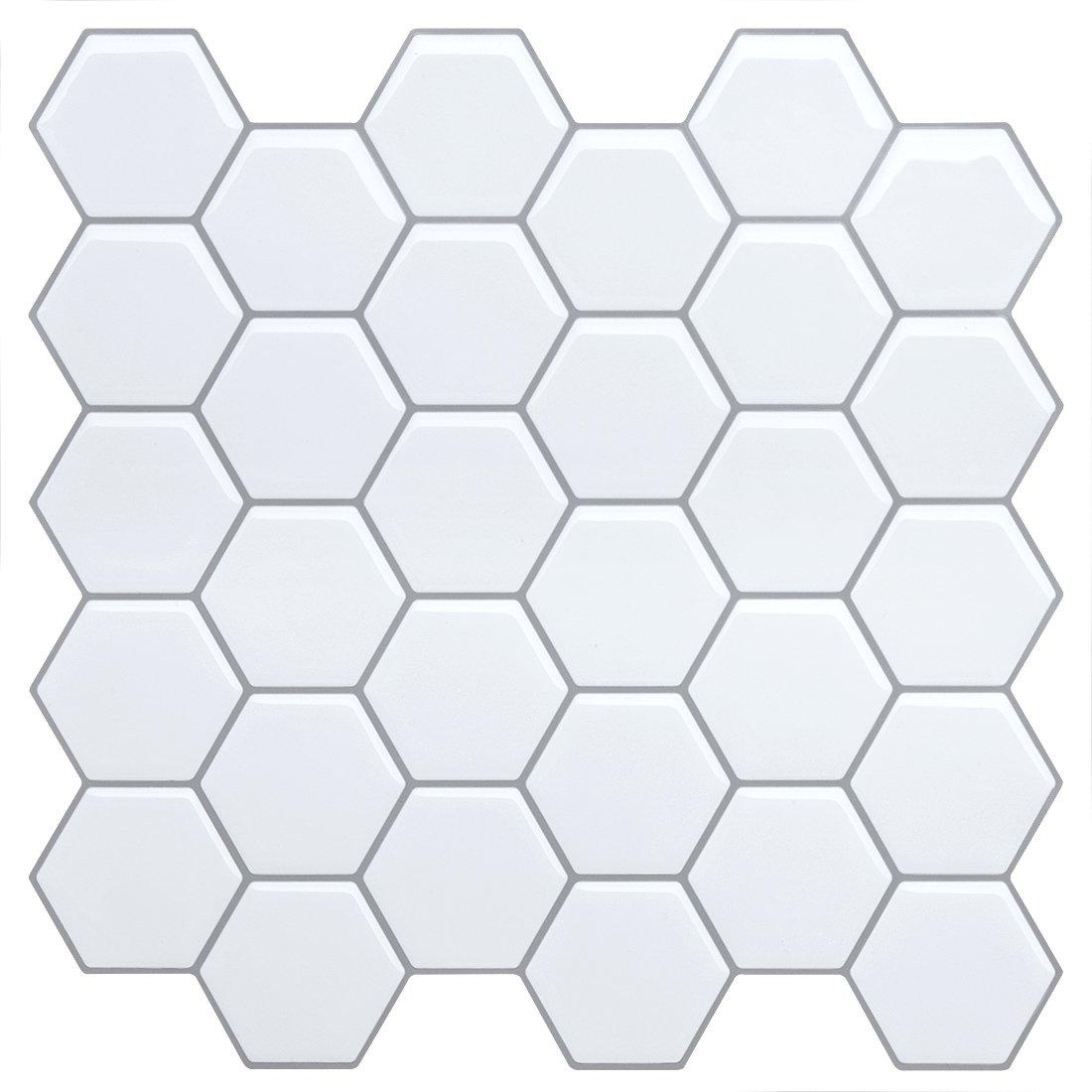 Peel and Stick Tile Backsplash for Kitchen Bathroom, Teal Arabesque Tile Backsplash, Mosaic Backsplash Sticker, 5 Sheets FAM-StickTiles