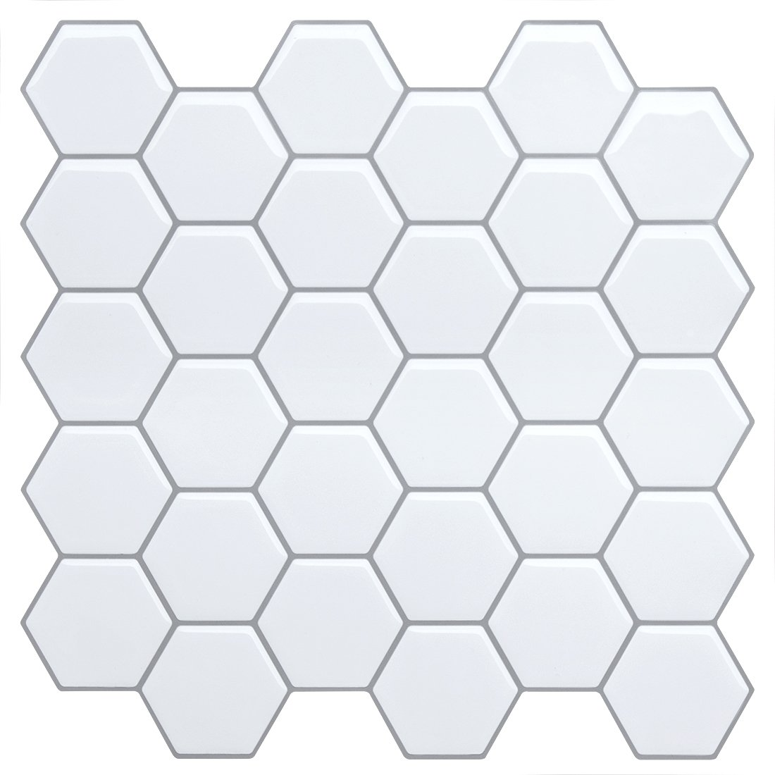 White Anti-Mold Peel and Stick Tile Backsplash -Marble Hexagon Tile for Kitchen Bathroom,Faux Ceramic Tile Design(4 Tiles)