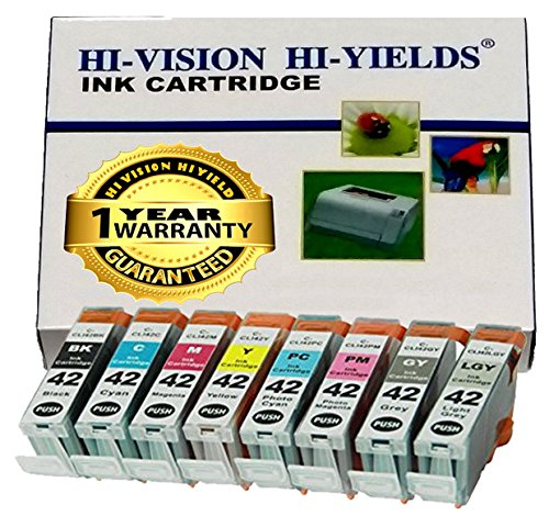 HI-VISION® Compatible Canon CLI-42 CLI42 8 pcs set Ink Tank replacement for Professional inkjet PIXMA PRO-100 Black,Cyan,Yellow,Magenta,Photo Cyan,Photo Magenta,Gray,Light Gray 6384B007 Multi colors