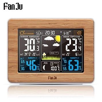 FanJu fj3365 - Estación meteorológica y reloj digital con sensor de humedad, temperatura y barómetro. Reloj despertador de mesa con pronóstico del tiempo, ...