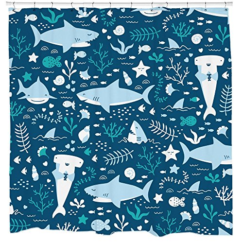 Fun Shark Shower Curtain Set with Cute Fish Ocean Themed Bathroom for Kids and Teens 12 Hooks -