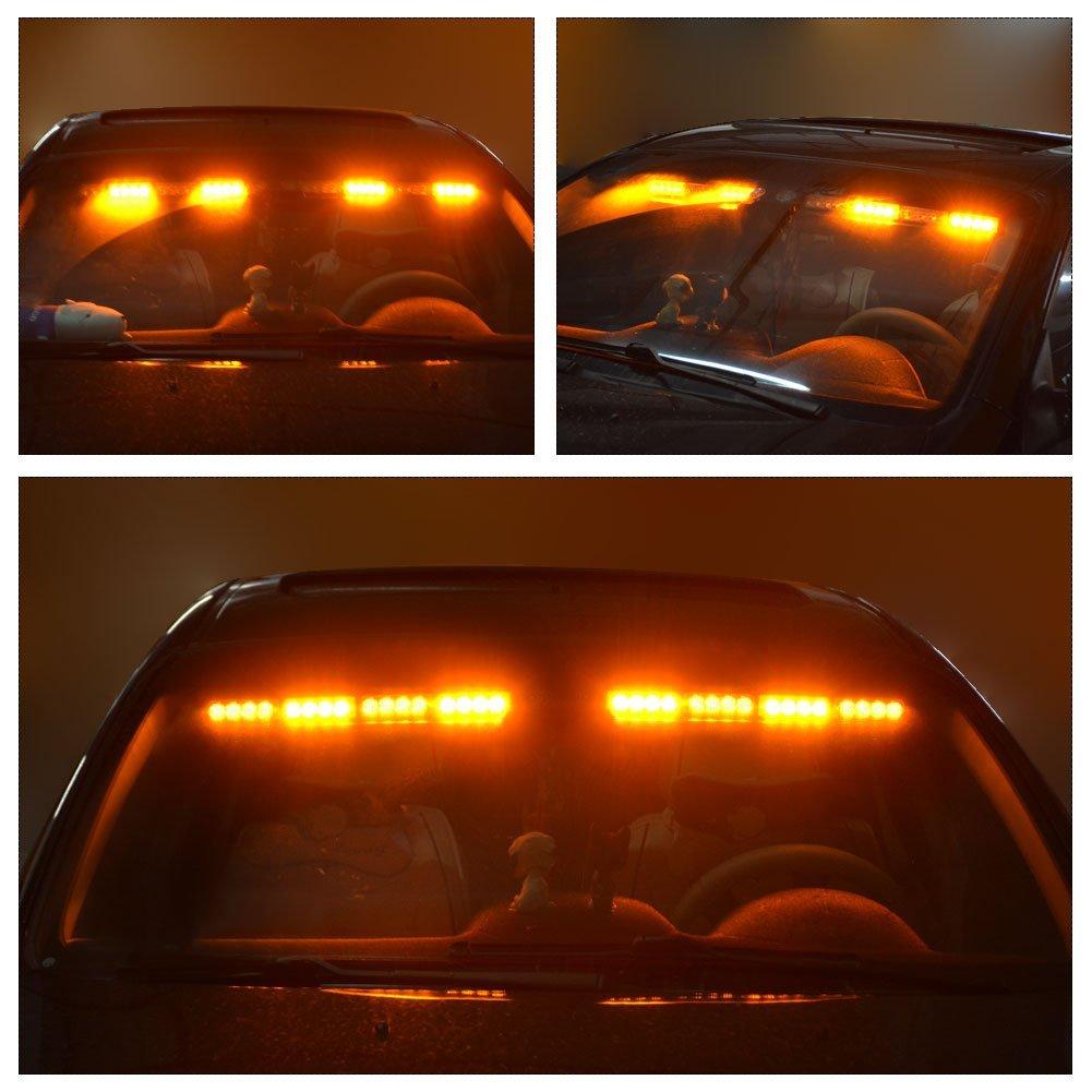 Emergency Visor Lights YITAMOTOR 17 2 x 15 LED 90W 26 Flash Patterns Split Strobe Visor Lights Interior Windshield Surface Mount Visor Lights With Universal Brackets