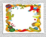 heat lamp for sugar art - qinghexianpan Fiesta Tapestry, Cartoon Drawing Style Mexican Pinata Taco Chili Pepper Sugar Skull Pattern Guitar, Wall Hanging for Bedroom Living Room Dorm, 80 W X 60 L Inches, Multicolor