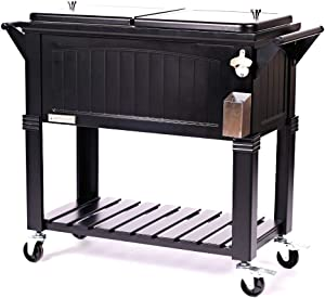 CP CHANNEL HauteDoorLife Portable Rolling 80-qt. Patio Beverage Cooler with Cover