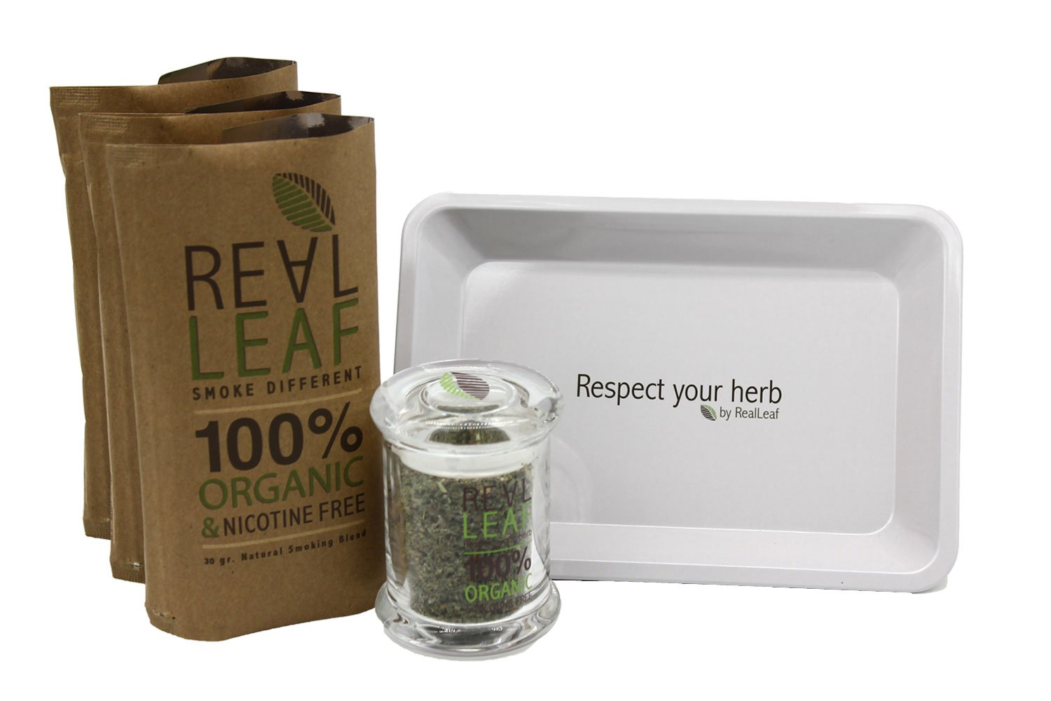 3 x Pack Real Leaf organic smoking mixture tobacco substitute 100% nicotine free + 3gr strong hermetic seal glass herb jar container + stylish tray