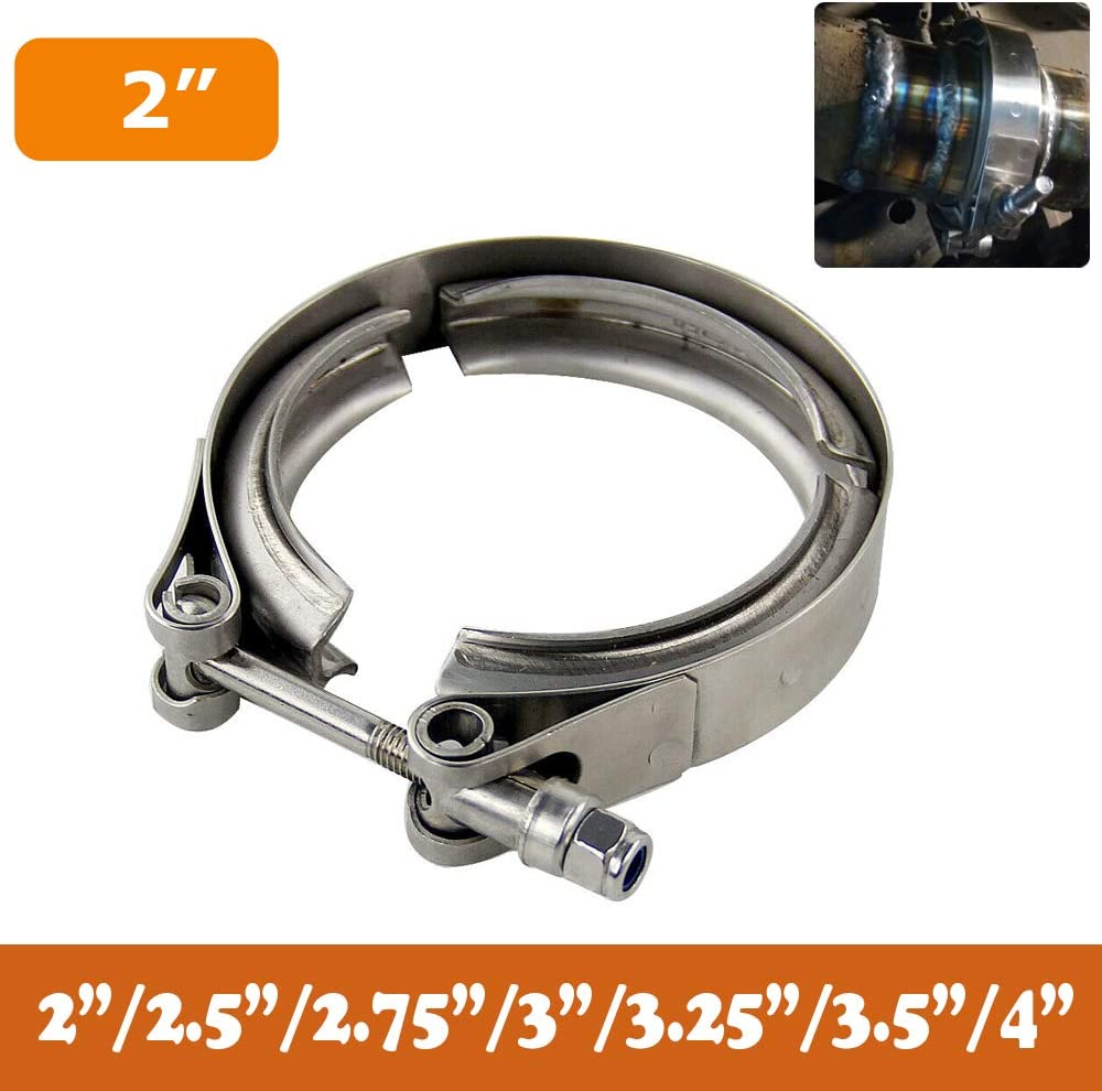 Exhaust Systems Downpipes 2.0//2.5//2.75//3.0//3.25//3.5//4.0 PTNHZ Universal Stainless Steel 2.0 V Band Clamp with CNC Stainless Steel Male Female Flanges For Turbo