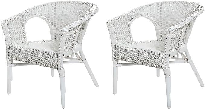 Rotin Design REBAJAS : -49% Lote de 2 sillones de mimbre Chris blanco moderno y barato: Amazon.es: Hogar