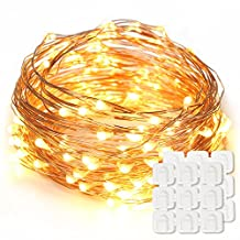 Starry String Lights 33ft 100 LED 8 Flash Modes & Decorating Clips, Decorative fairy lights for Bedroom, Patio, Garden, Gate, Yard, Parties, Wedding(USB Powered Warm, White)