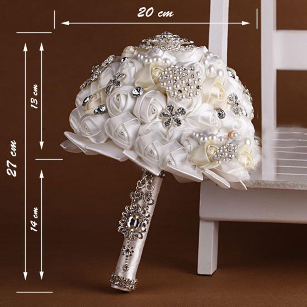 Amazon.com: Engerla Handmade Diamond Pearl Rhinestone Brooch Bridal ...