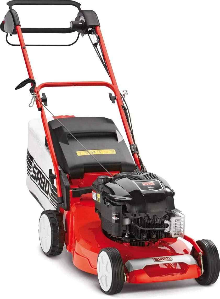 SABO Cortacésped de Gasolina 43-Vario, Ancho de Corte de 43 cm, chasis de Aluminio Robusto, Ajuste de Altura de Corte Central, accionamiento Vario.