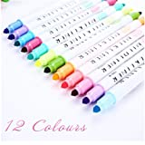 12 Pcs/Set Japanese high Lighter Mildliner Pens Mild Liner Double Headed Fluorescent Pen Cute Art Highlighter Drawing Mark Pen Stationery