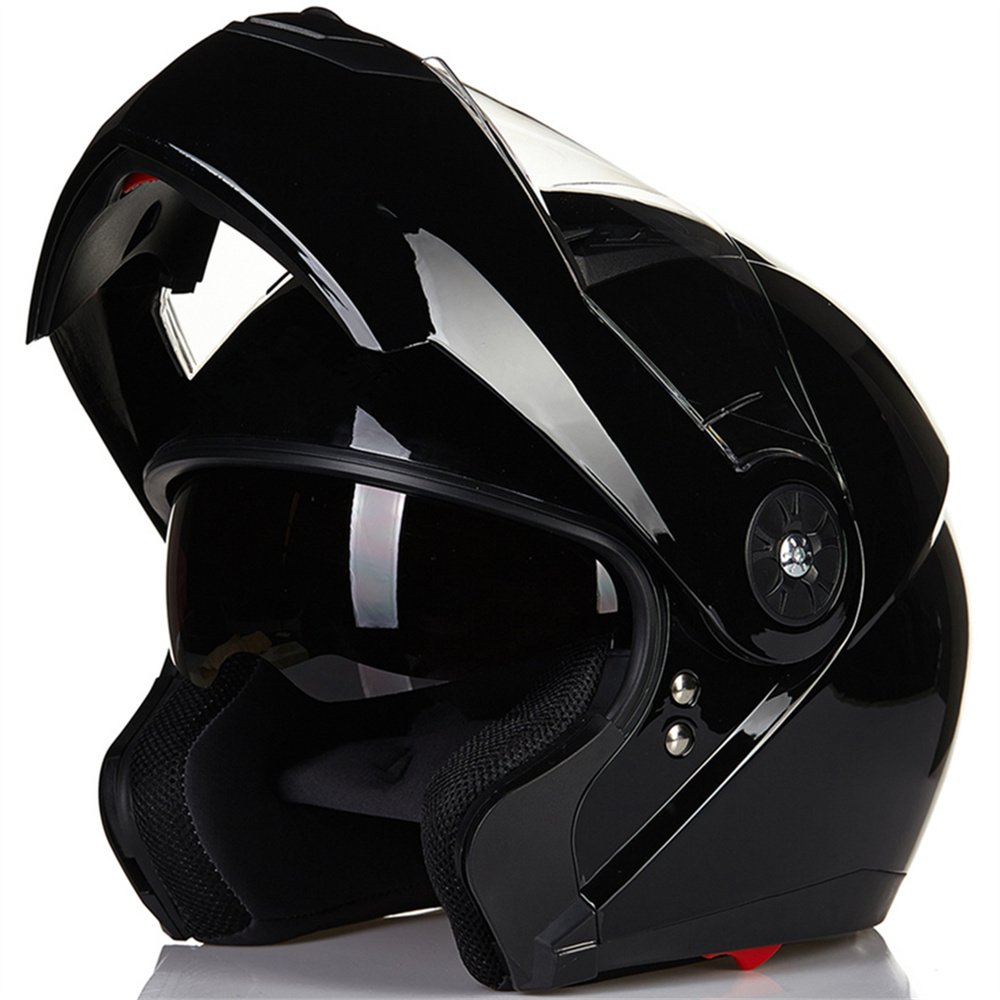 ILM 8 Colors Motorcycle Modular Flip up Dual Visor Helmet DOT (L, Gloss Black)