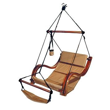 hammaka nami deluxe hanging hammock lounger chair in tan amazon     hammaka nami deluxe hanging hammock lounger chair in      rh   amazon