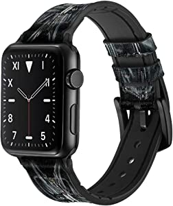 CA0190 Gothic Corset Black Leather & Silicone Smart Watch Band Strap for Apple Watch iWatch Size 42mm/44mm