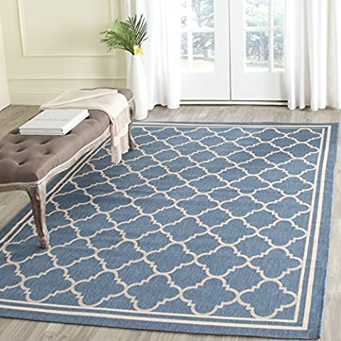 Safavieh Courtyard Collection CY6918-243 Blue and Beige Indoor/ Outdoor Area Rug (8' x 11') (8x11 Area Rug Blue)