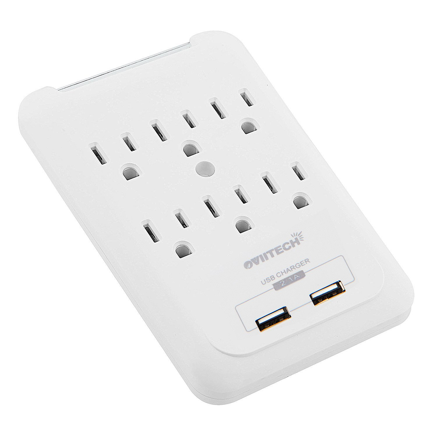 Multi-function Wall Mount Outlet Adapter, Surge Protector Charging Station, OviiTech Dual 2.1AMP USB Charging Ports,6 AC Socket Outlet Plugs,White,ETL Certified