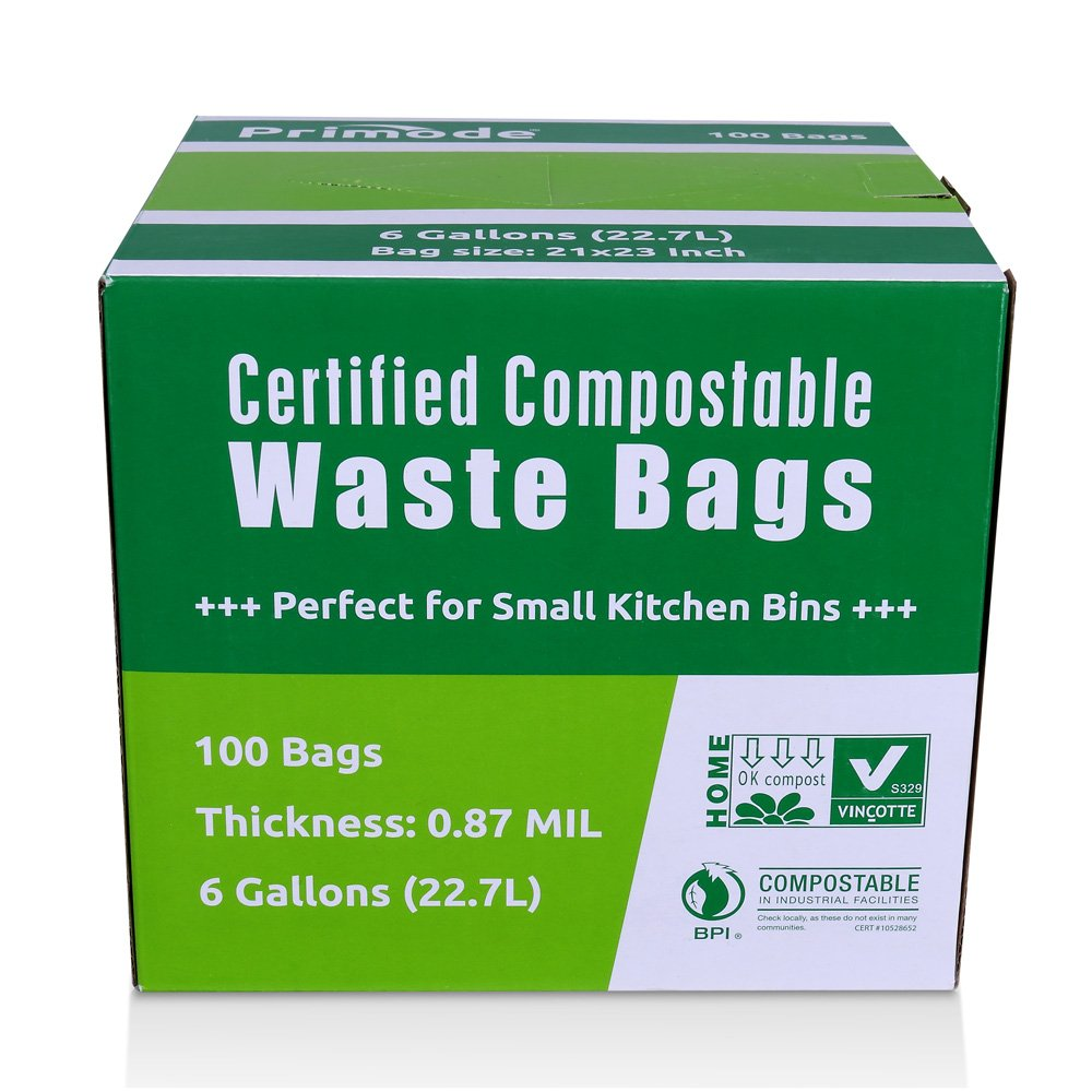 amazoncom primode 100 compostable bags 6 gallon food scraps yard waste bags extra thick 087 mil astmd6400 compost bags small kitchen