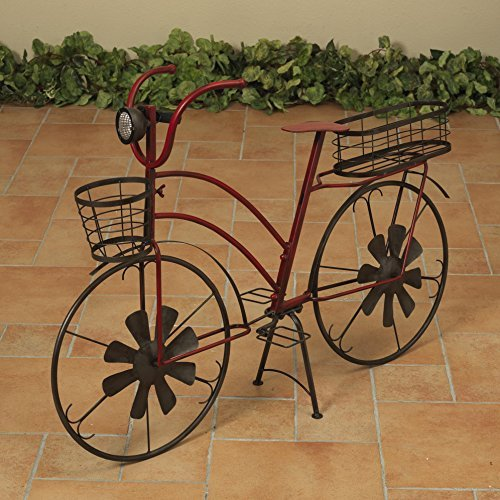 37 Inch Solar Lighted Metal Bicycle Planter Stand - Indoor / Outdoor Use (Tricycle Plant Stand)