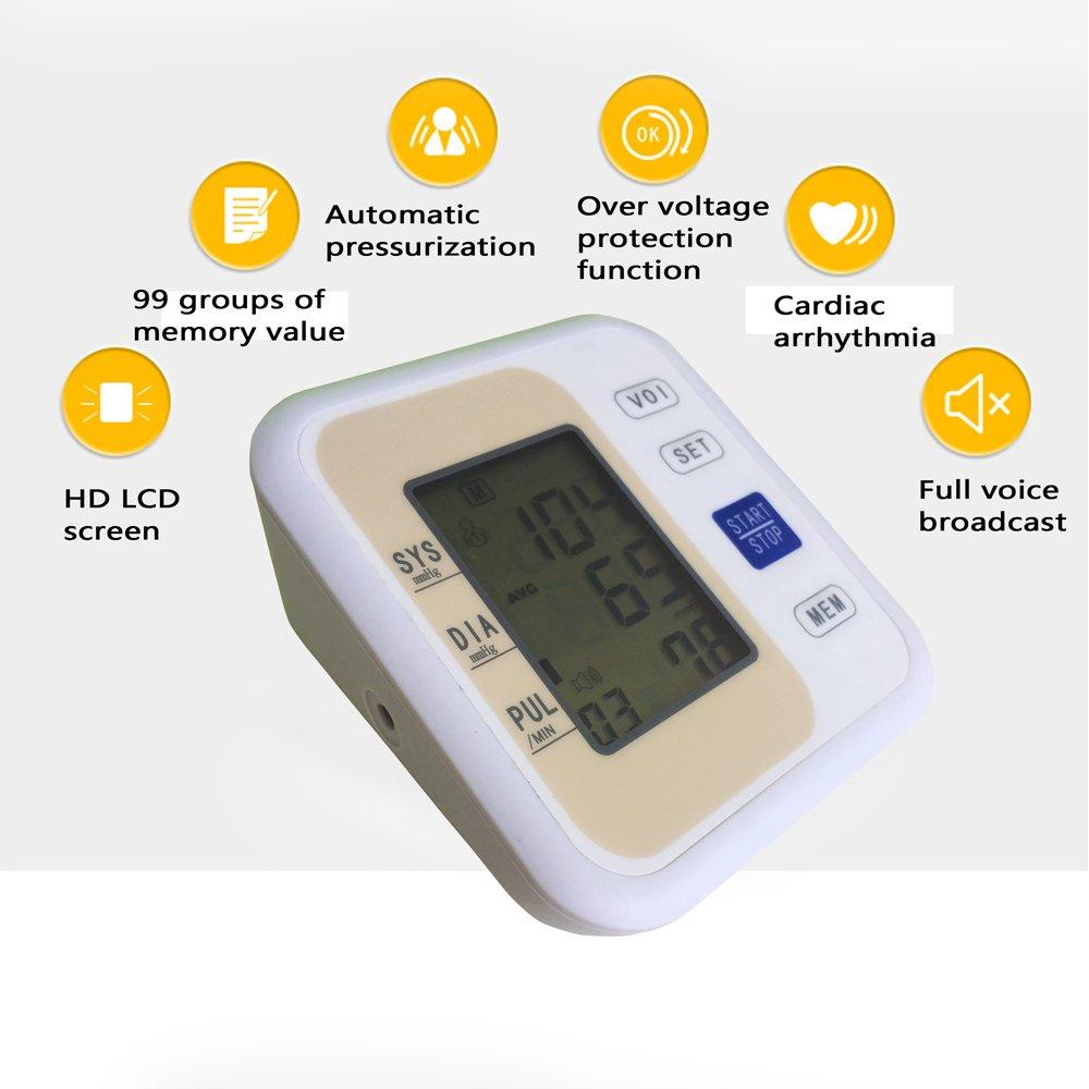 Tensiómetro electrónico monitor-automatic Digital UPPER ARM Cuff muñeca - precisa, portátil y perfecto para uso doméstico - anuncios de voz, gran pantalla ...