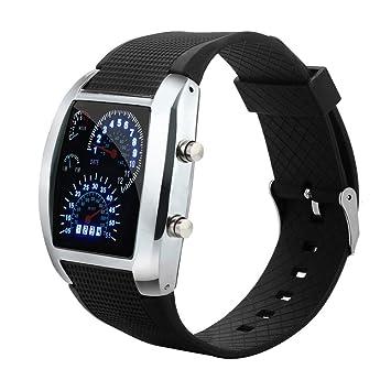 Logobeing Reloj LED Digital Hombre Pulsera LED luz Flash Turbo velocímetro Deportivo Coche Dial Meter Reloj (Negro): Amazon.es: Deportes y aire libre