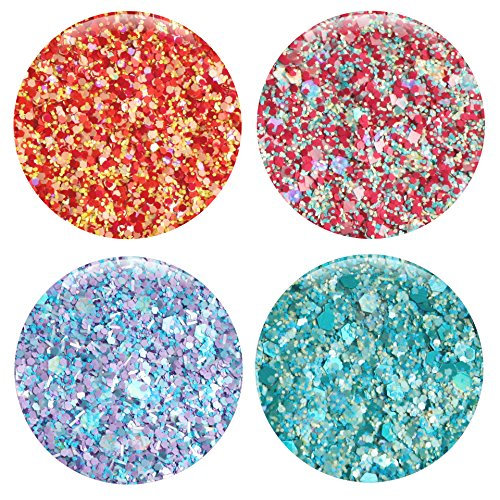 Mixed Glitter 20 Piece Kit – Includes Solvent Resistant Dust, Powder, Hexagon, Holographic, Matte Glitters - Great for Nail Art Polish, Gels, Art and Crafts, Paints & Acrylics Supplies - 1/4 OZ Jars by Glitties (Image #1)