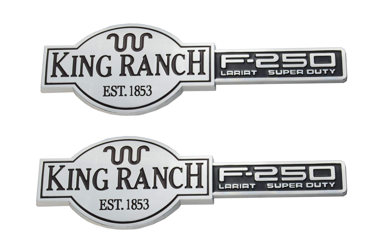 F250 KING RANCH LARIAT SUPER DUTY Emblems 3D Badges Door Tailgate Replacement for F-250 Chrome Black