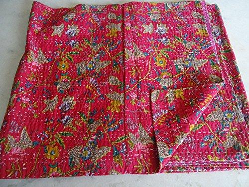 Art Flowers Quilt (Sophia Art 100% Handmade Indian Kantha Quilt Blanket Comforter - Pink Shade Flowers Bird of Paradise Quilt, Ethnic Bohemian, Mediterranean Bedding)