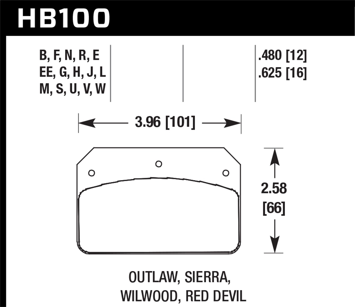 Hawk Performance HB100N.480 HP Plus Brake Pad