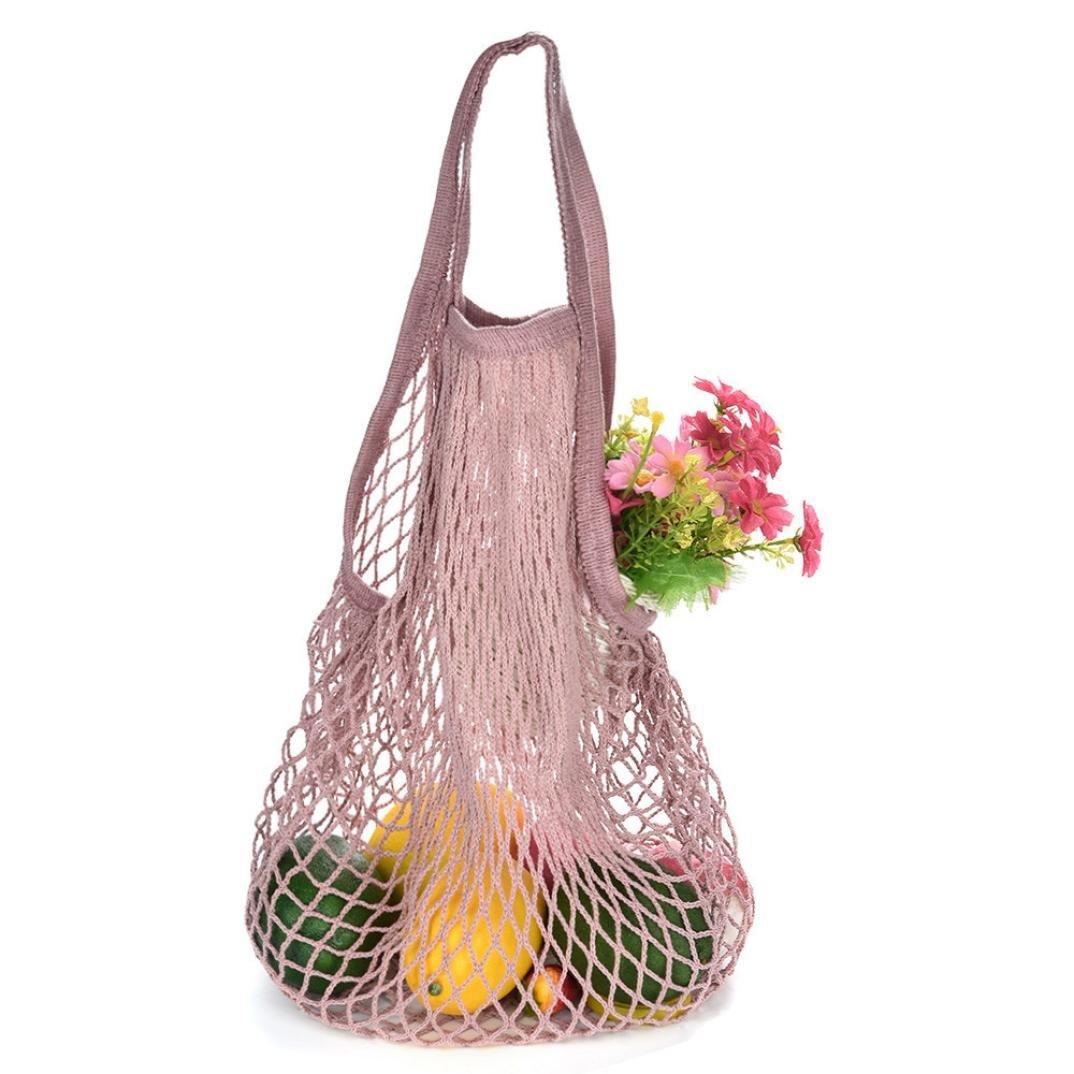 Makaor Portable Reusable Mesh Net String Shopping Bag Reusable Fruit Storage Handbag Totes New Turtle Bag (B, Size: 32 x 38 x 15cm)