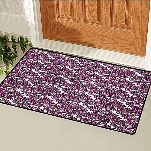 GUUVOR Vintage Universal Door mat Nature Inspired Abstract Ornament in Pink and Purple Shades Floral Art Door mat Floor Decoration W29.5 x L39.4 Inch Pink Violet and White