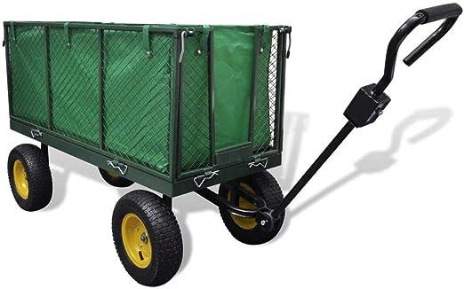 Wakects Carro Playa Plegable Carro para Jardín Carro de Transporte con 4 Ruedas y Frenos 128 x 62 x 84 cm,MAX. Carga 350 kg: Amazon.es: Hogar