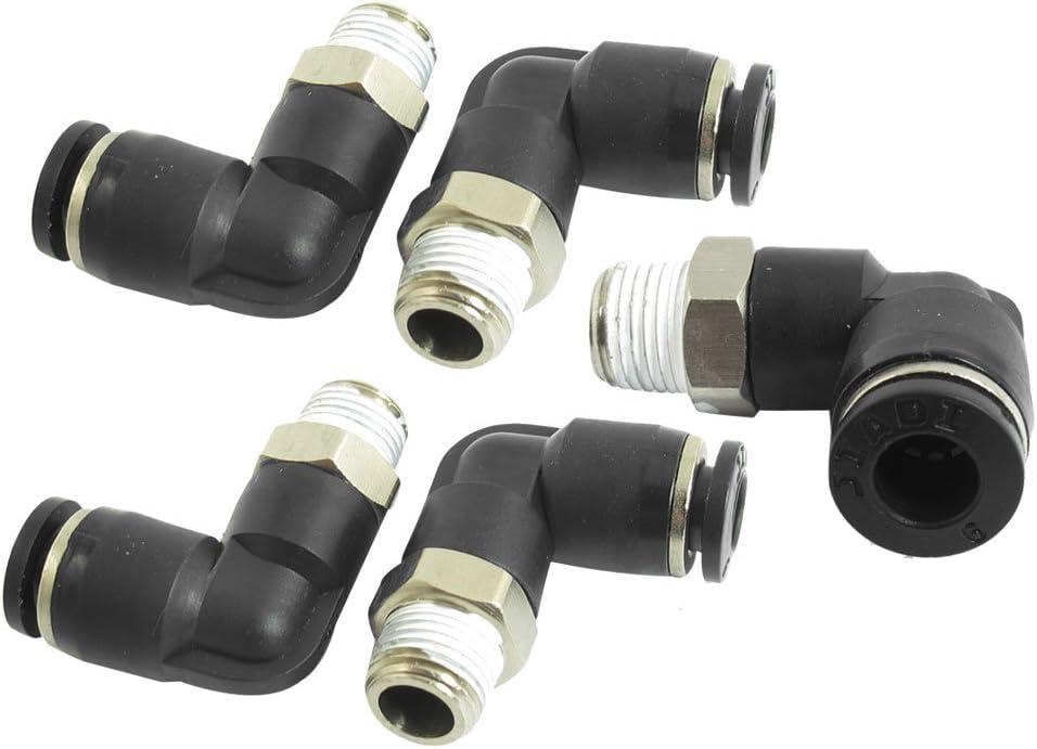 1//8BSP Macho a 6mm Aire Neum/ático Codo Conexi/ón R/ápida Conectores 5Pcs