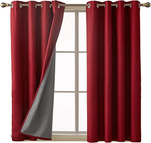 Amazon Com Deconovo Red Blackout Curtains With 3 Pass Coating Sound Blocking Thermal Insulated Bedroom Curtains 52x54 Inch 2 Panels Furniture Decor