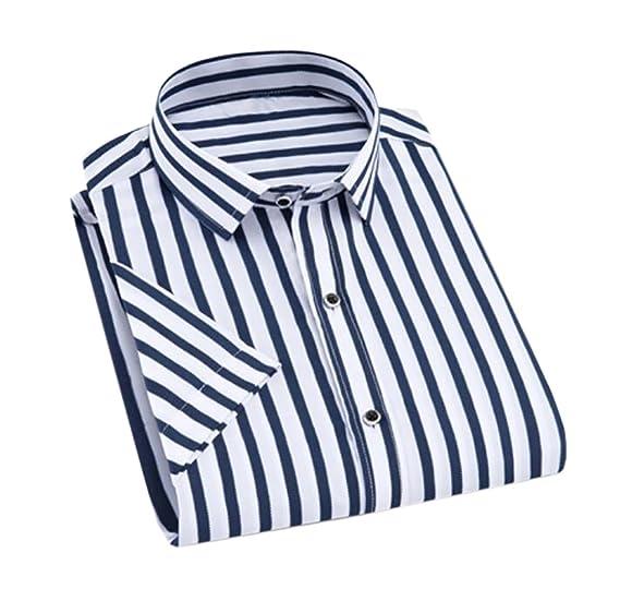 173ee410a3 GRMO-Men Button Down Shirts Vertical Striped Short Sleeve Dress Shirt Blue  US XS