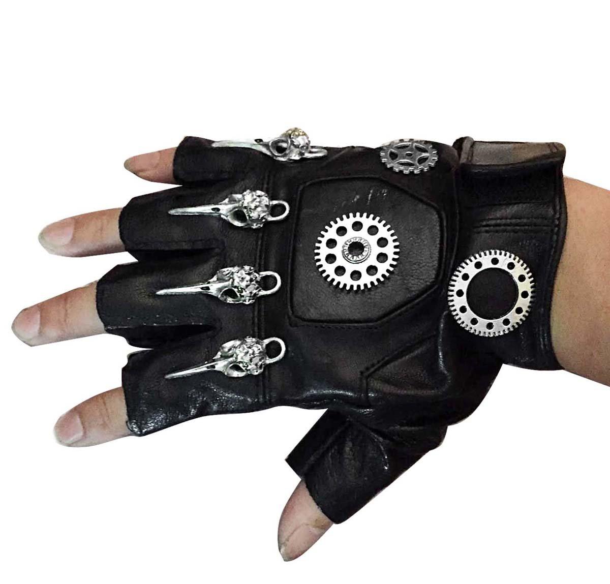 Mens Unisex Steampunk Gears Gothic Genuine Leather Half Finger Fingerless Gloves 2