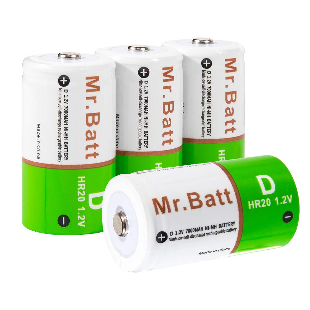 Rechargeable D Batteries, Mr.Batt 7000mAh NiMH D Cell Batteries, 4 Pack by Mr.Batt