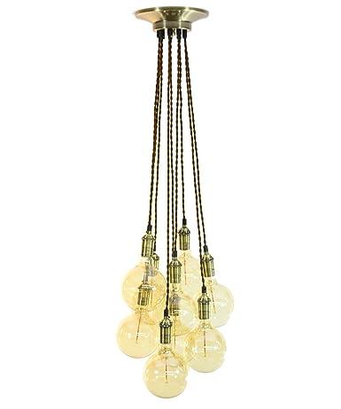 Brown And Antique Brass Pendant Light Grape Cluster Pendant Led