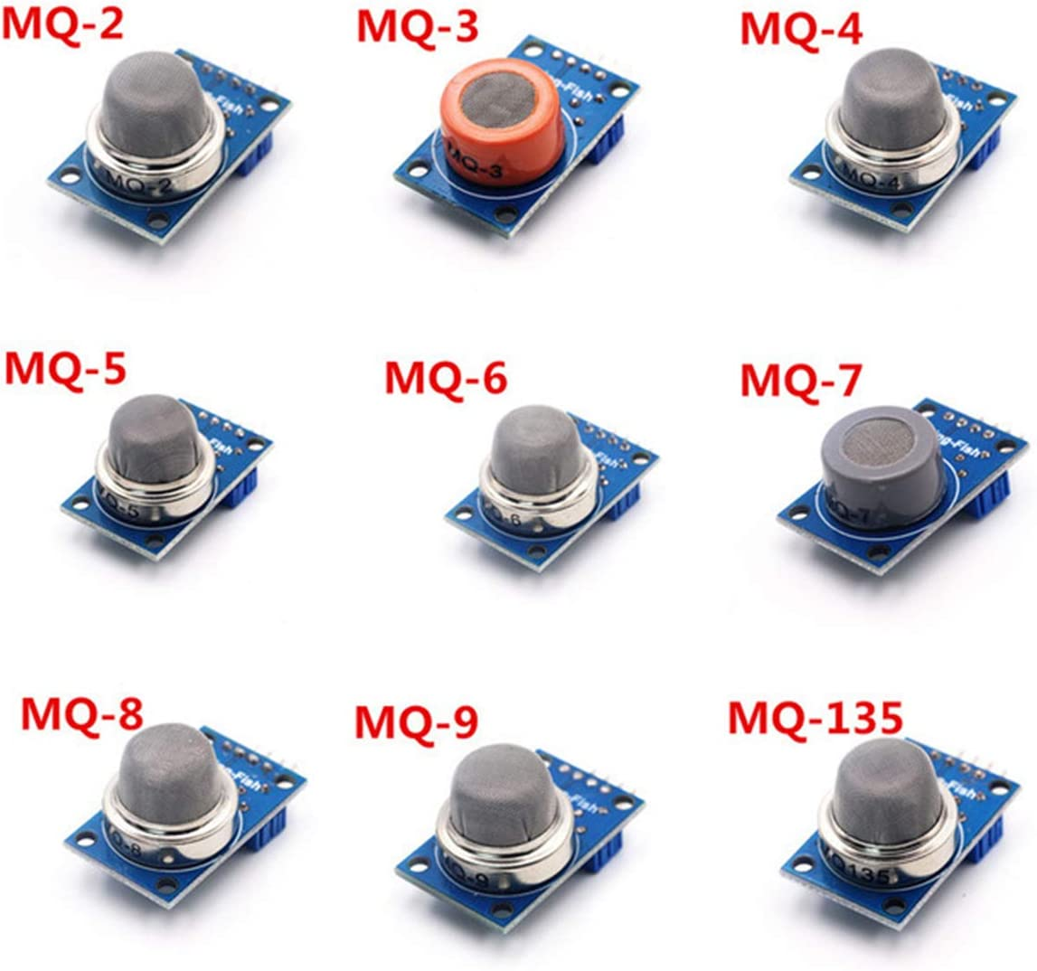 LuxtechPro Gas Detection Sensor Modules 9 Kit MQ Series Gas Sensor Modules MQ MQ-2 MQ-3 MQ-4 MQ-5 MQ-6 MQ-7 MQ-8 MQ-9 MQ-135 Components Electronics for Arduino and Raspberry Pi