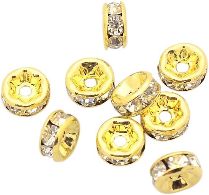 Gr/ö/ße 6x3 mm PandaHall Klasse A Messing Strass Zwischenperlen Bohrung: 1 mm antike Bronze Metall Farbe