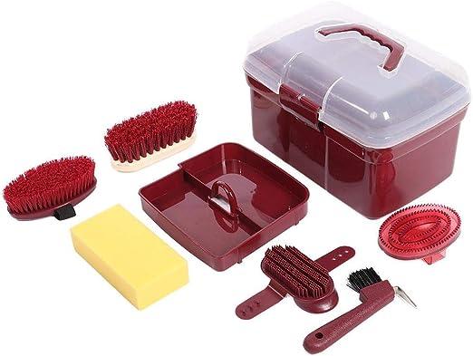 Sheens Kit de Aseo para Caballos de 6 Piezas, Juego de cepillos de Limpieza para Caballos con Caja de Almacenamiento Que Incluye un Cepillo Suave, Cepillo Duro, Esponja de PVC: Amazon.es: Productos