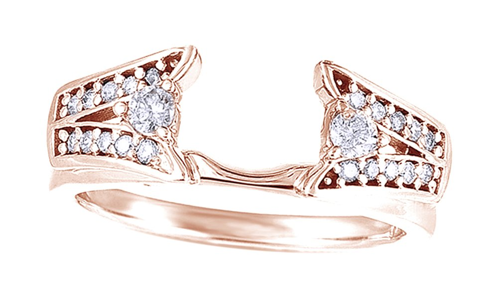 Jewel Zone US White Cubic Zirconia Classic Style Wrap Ring In 14k Rose Gold Over Sterling Silver