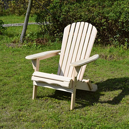 Merry Garden Foldable Wooden Adirondack Chair, Outdoor, Garden, Lawn, Deck Chair, Natural - http://coolthings.us