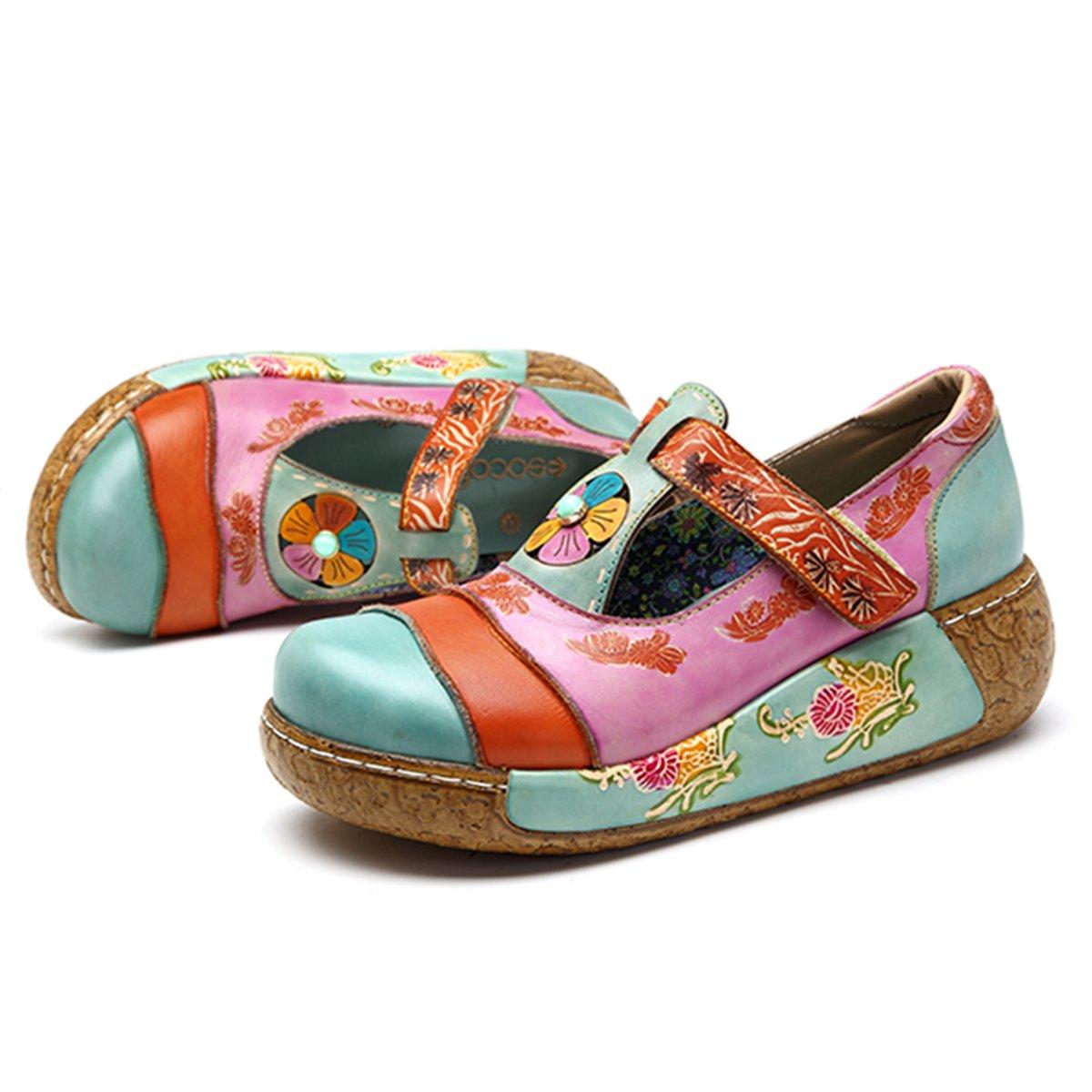Socofy Sandalias de Mujer, Zapatos Merceditas para Mujer de Cuña de Flores Coloridas Zapatos de Cuero de la Vendimia Plataforma Slip-On Sandal Danza de Ballet Mocasines Casuales Oxford Zapatos 39 EU|Sky Blue # 1