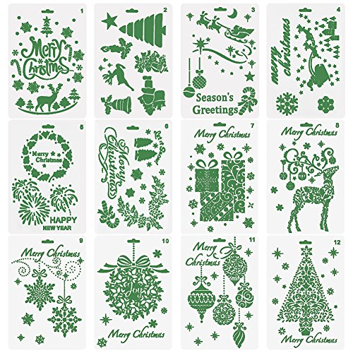 COCODE Christmas Stencils Bullet Journal Stencil Template Set of 12 - Merry Christmas,Santa Claus,Christmas Tree,Snowflakes,Bulbs,Reindeers for Card DIY Drawing Painting Craft Projects