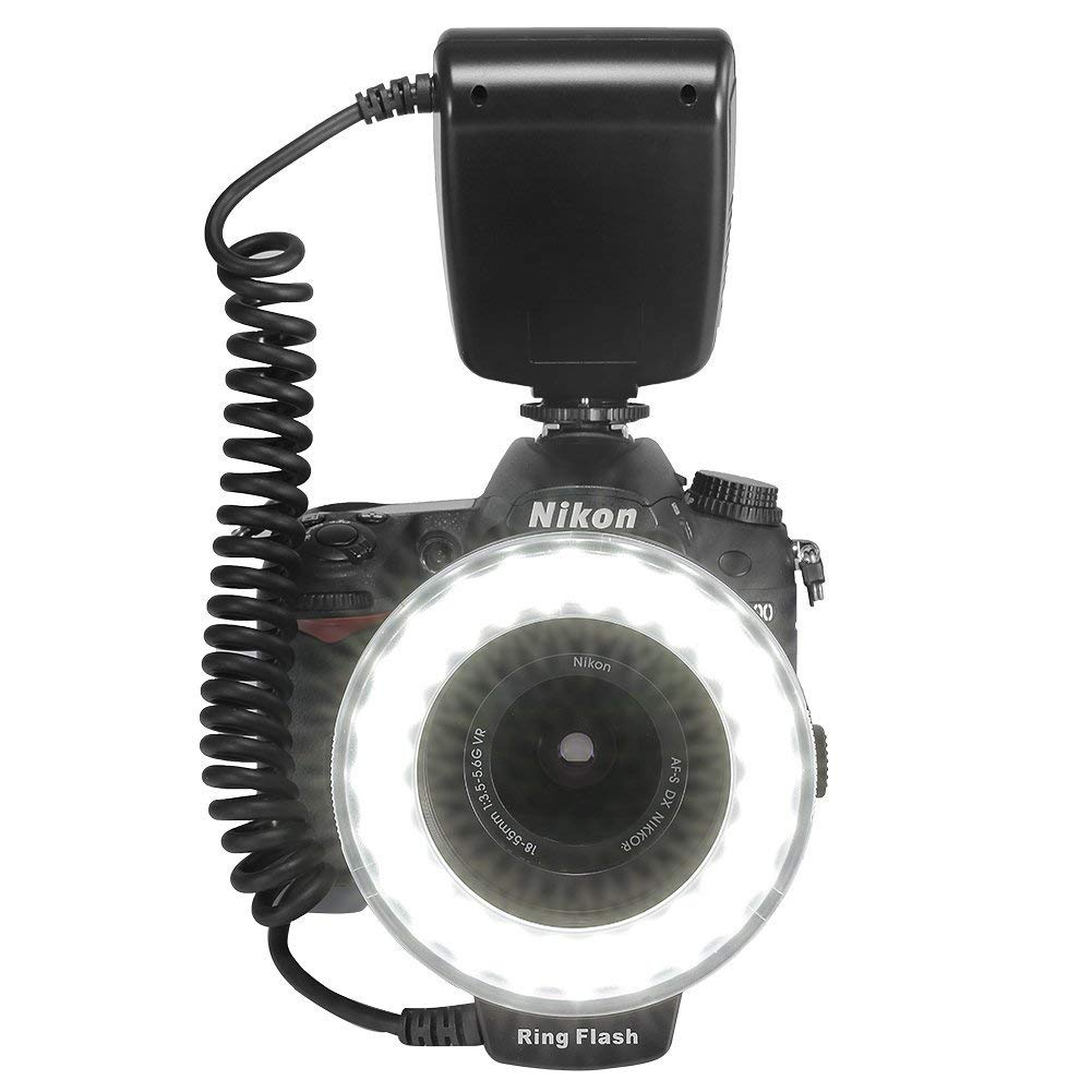 Happyjoy 48 LED Macro Ring Flash Continuous Light with 8 Lens Adapter for Canon Nikon Camera