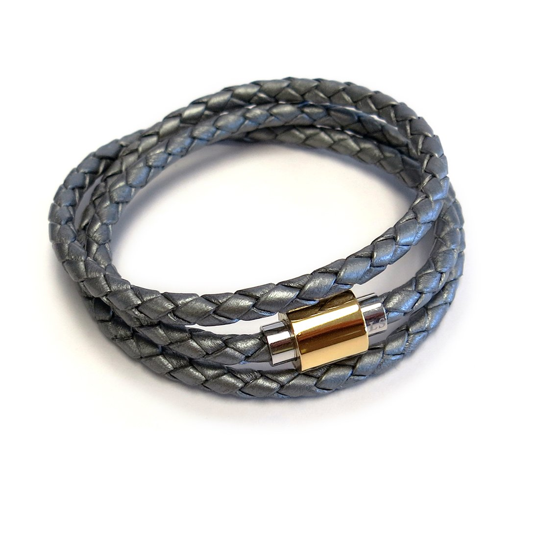 Liza Schwartz Two-Tone Clasp Rich Braided Triple Wrap Premium Leather Bracelet for Women in Black, Red, Silver and More Color - Best for Birthday Gift