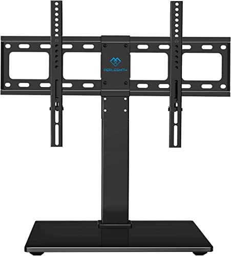 PERLESMITH Universal Swivel TV Stand Base – Table Top TV Stand for 37-65 inch LCD LED TVs – Height Adjustable TV Mount Stand with Tempered Glass Base, VESA 600x400mm, Holds up to 88lbs